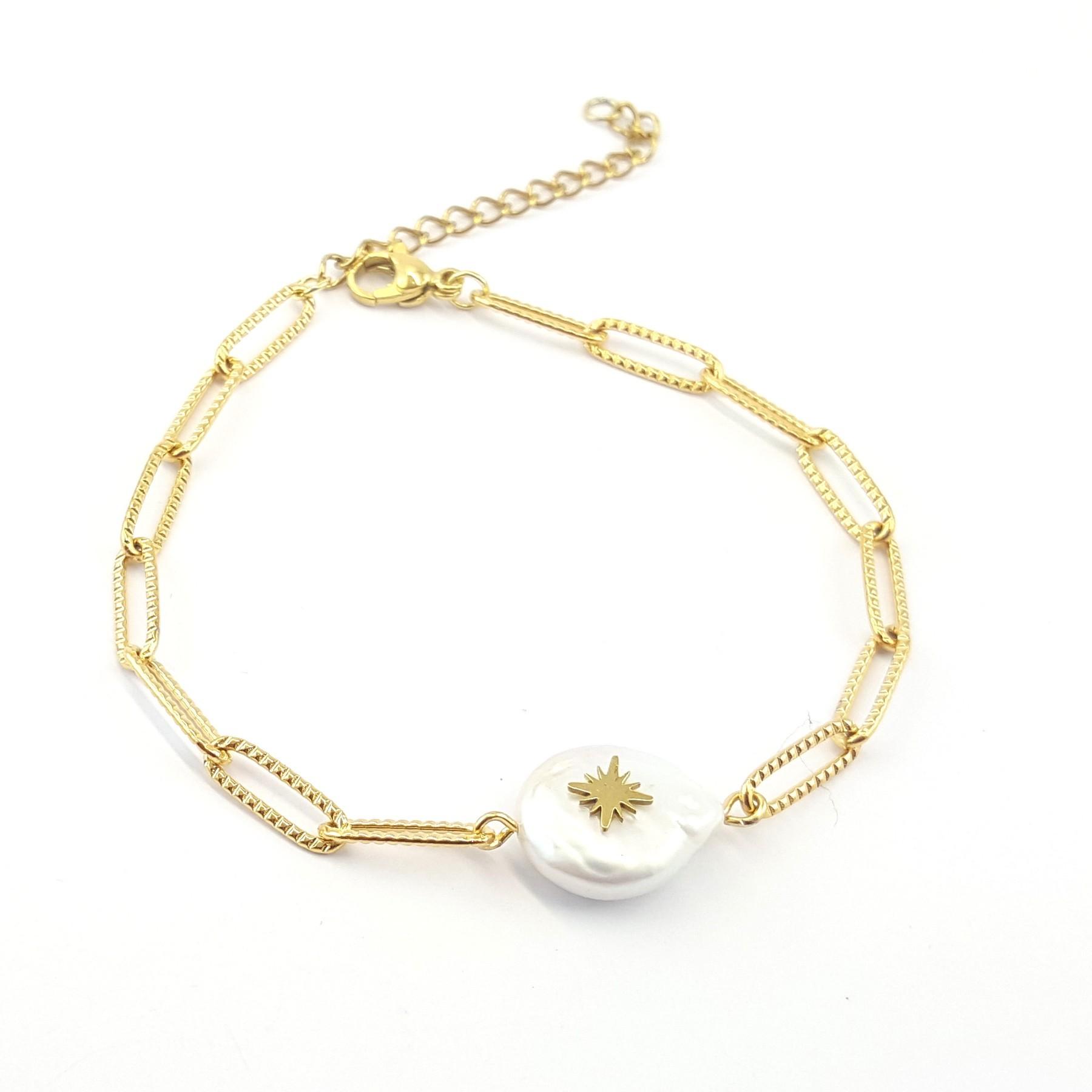 Bracelet perle de culture et acier doré