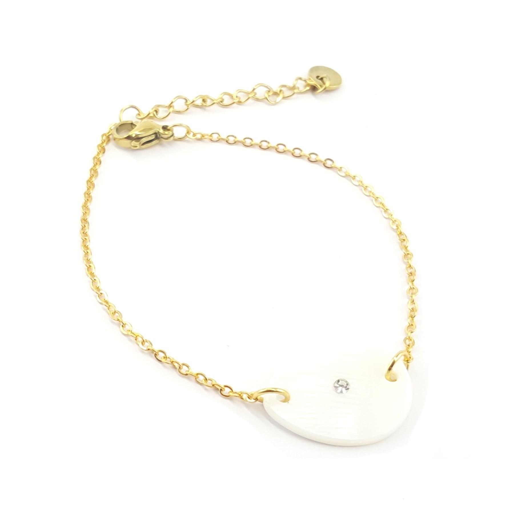 Bracelet goutte nacre et acier doré
