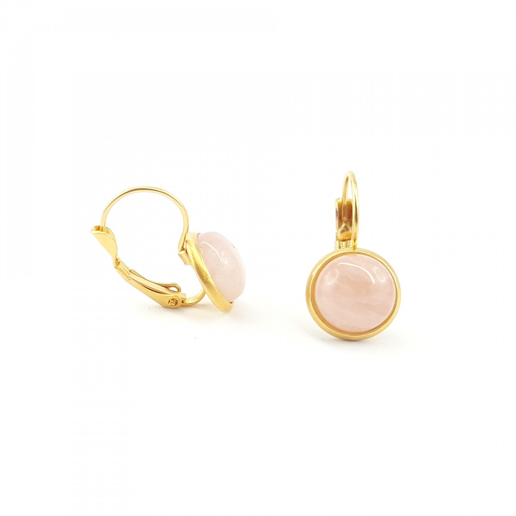 Dormeuses quartz rose plaqué or