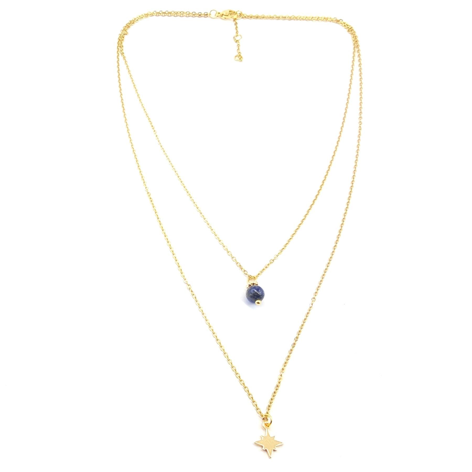 Collier 2 rangs lapis lazuli
