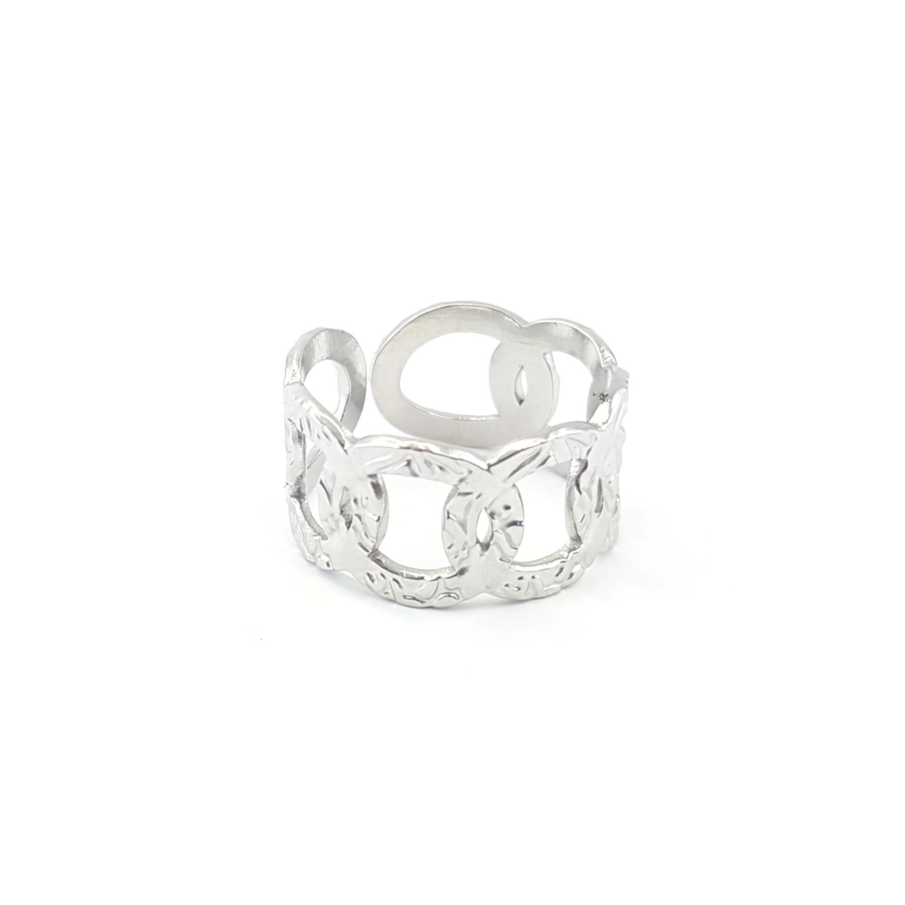Bague anneaux acier froissé