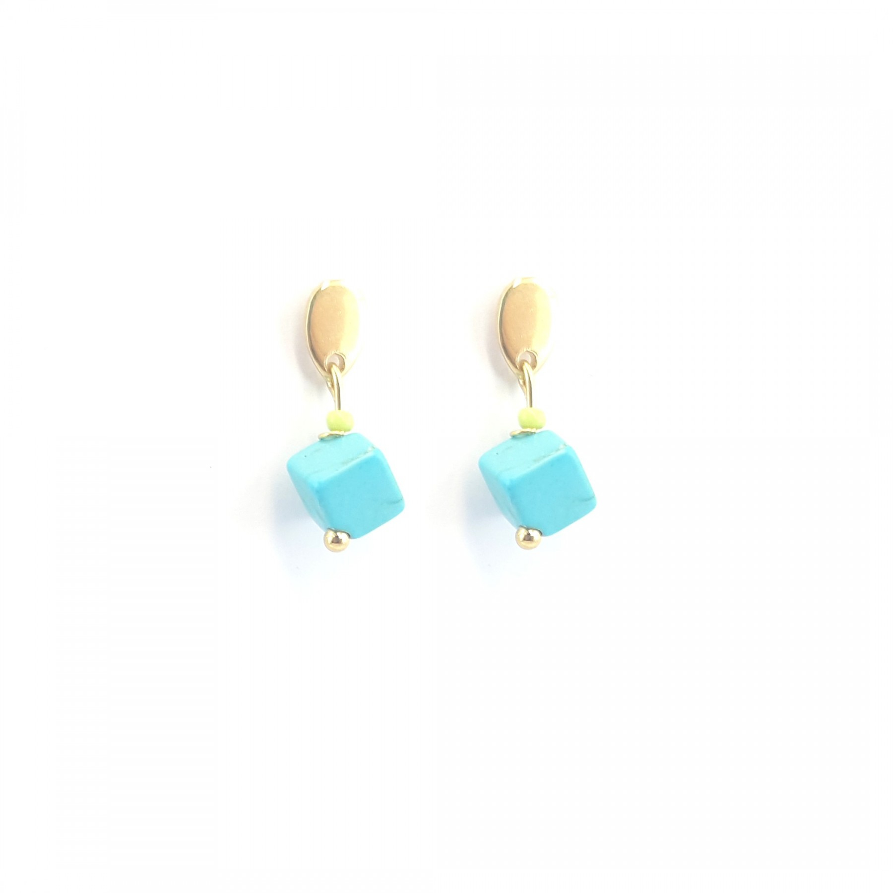 Boucles cube turquoise