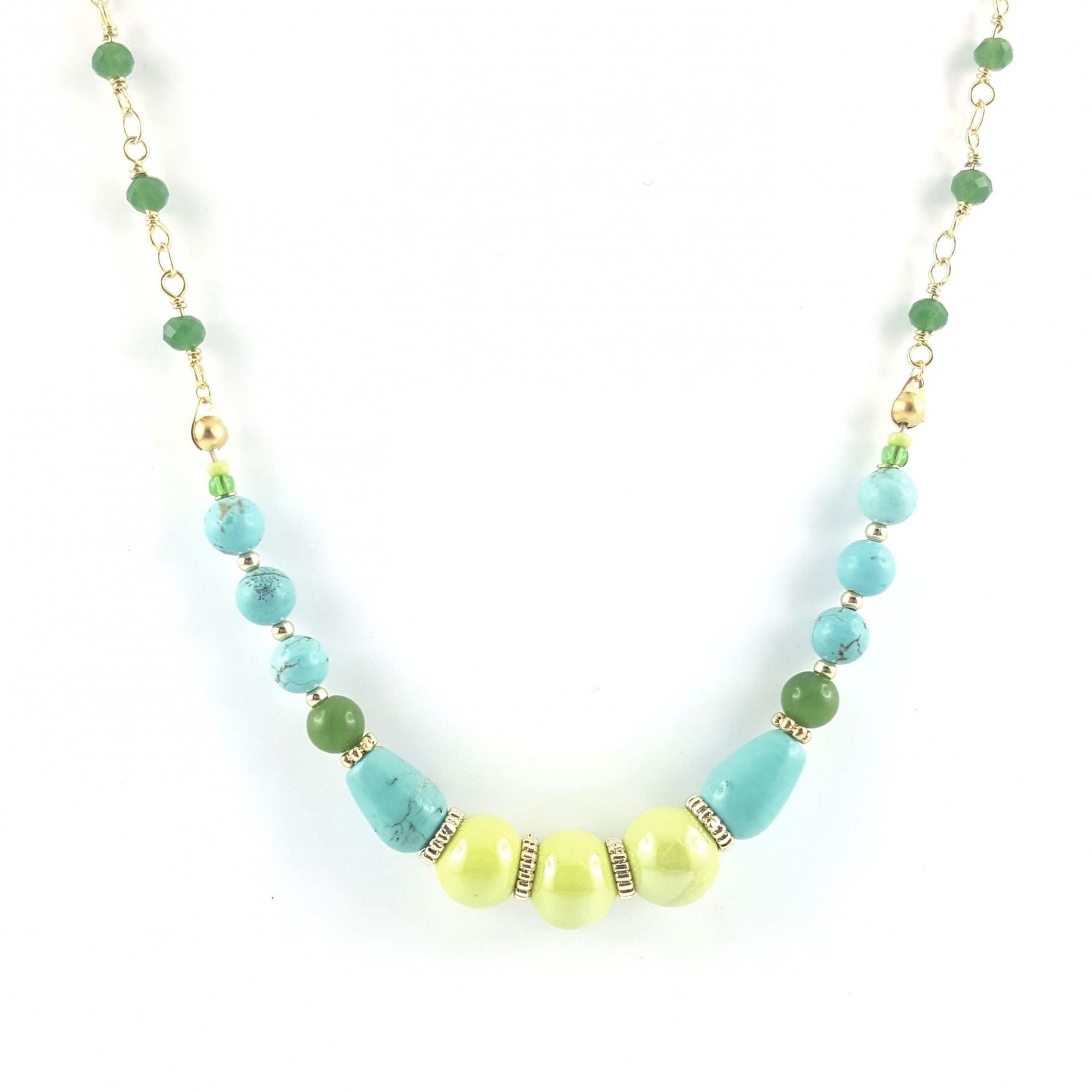 Collier céramique et turquoise