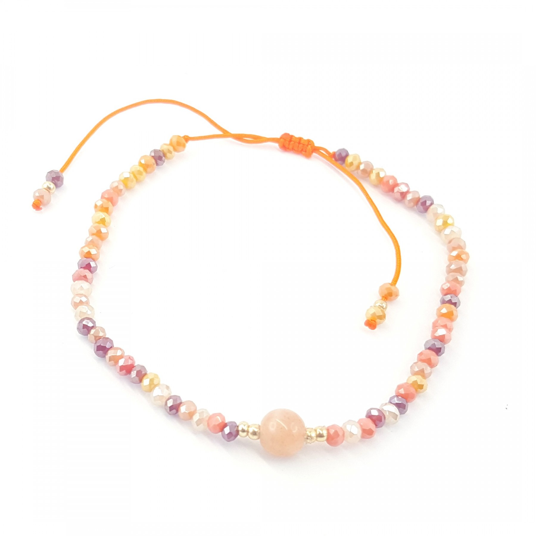 Bracelet coulissant agate orange