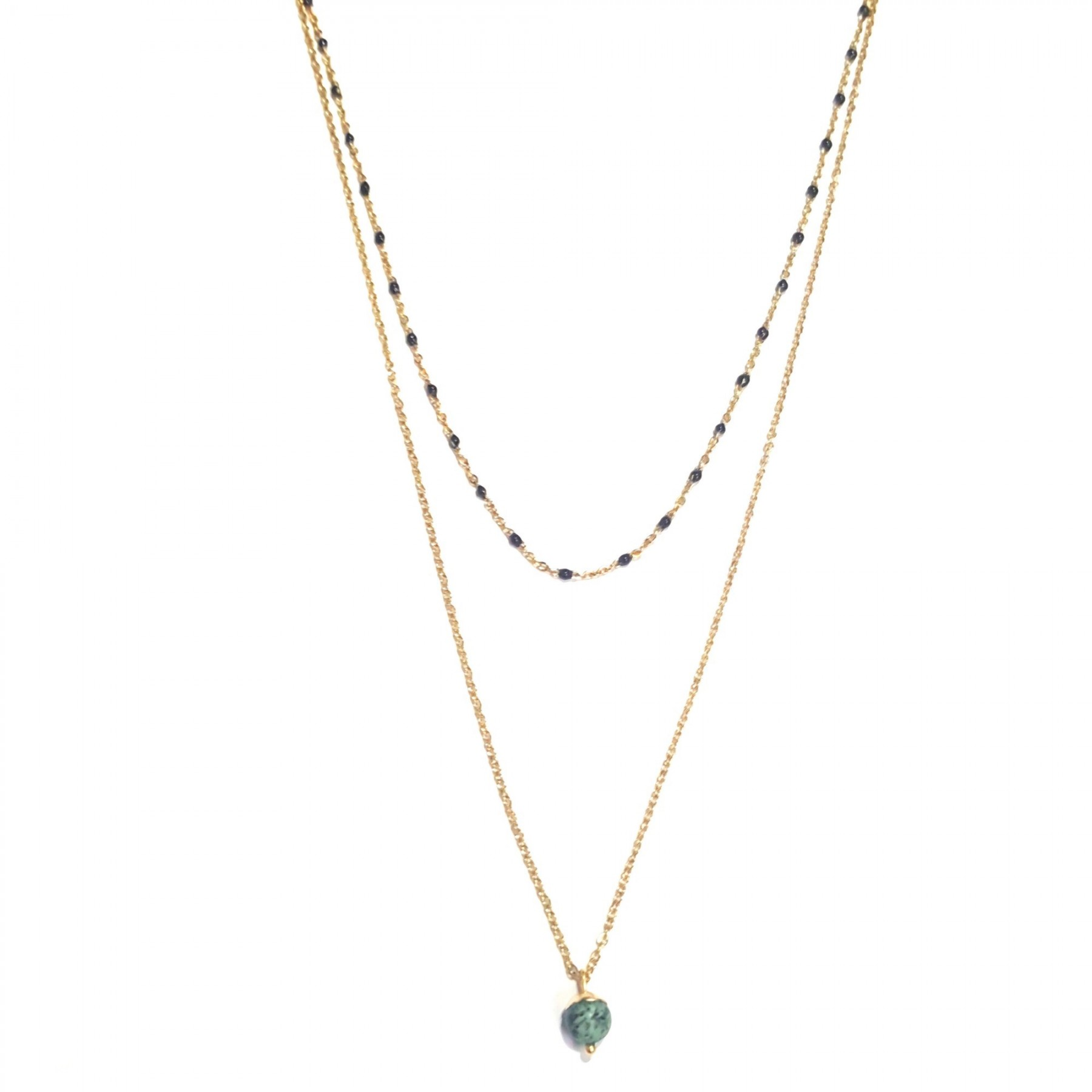 Collier 2 rangs turquoise africaine