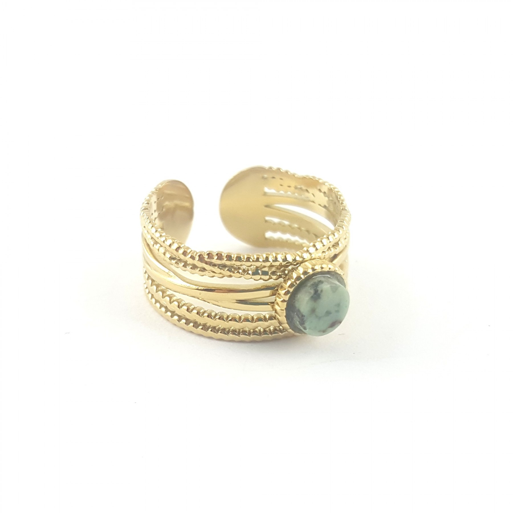 Bague multi-rangs turquoise africaine