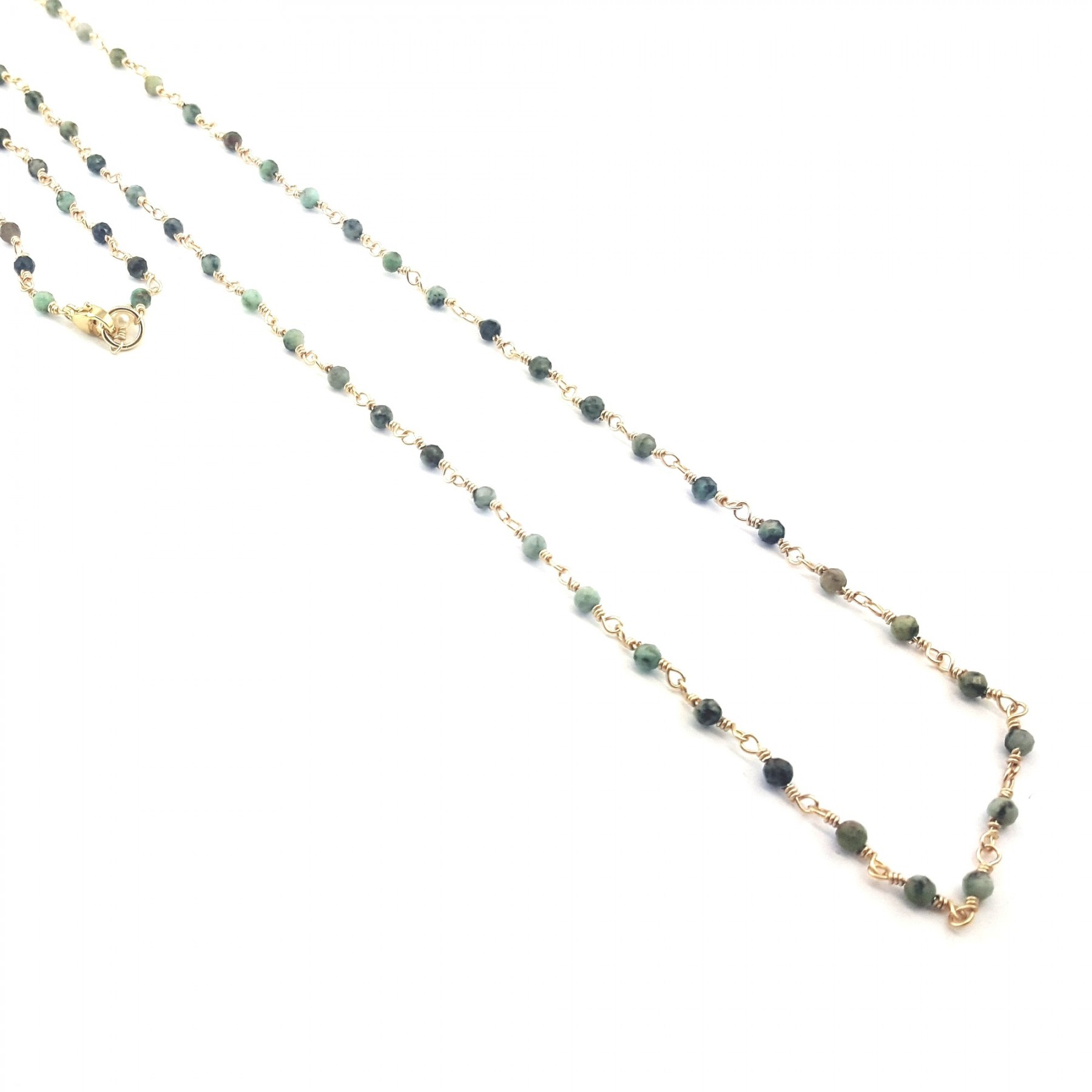 Collier long perles turquoises africaines