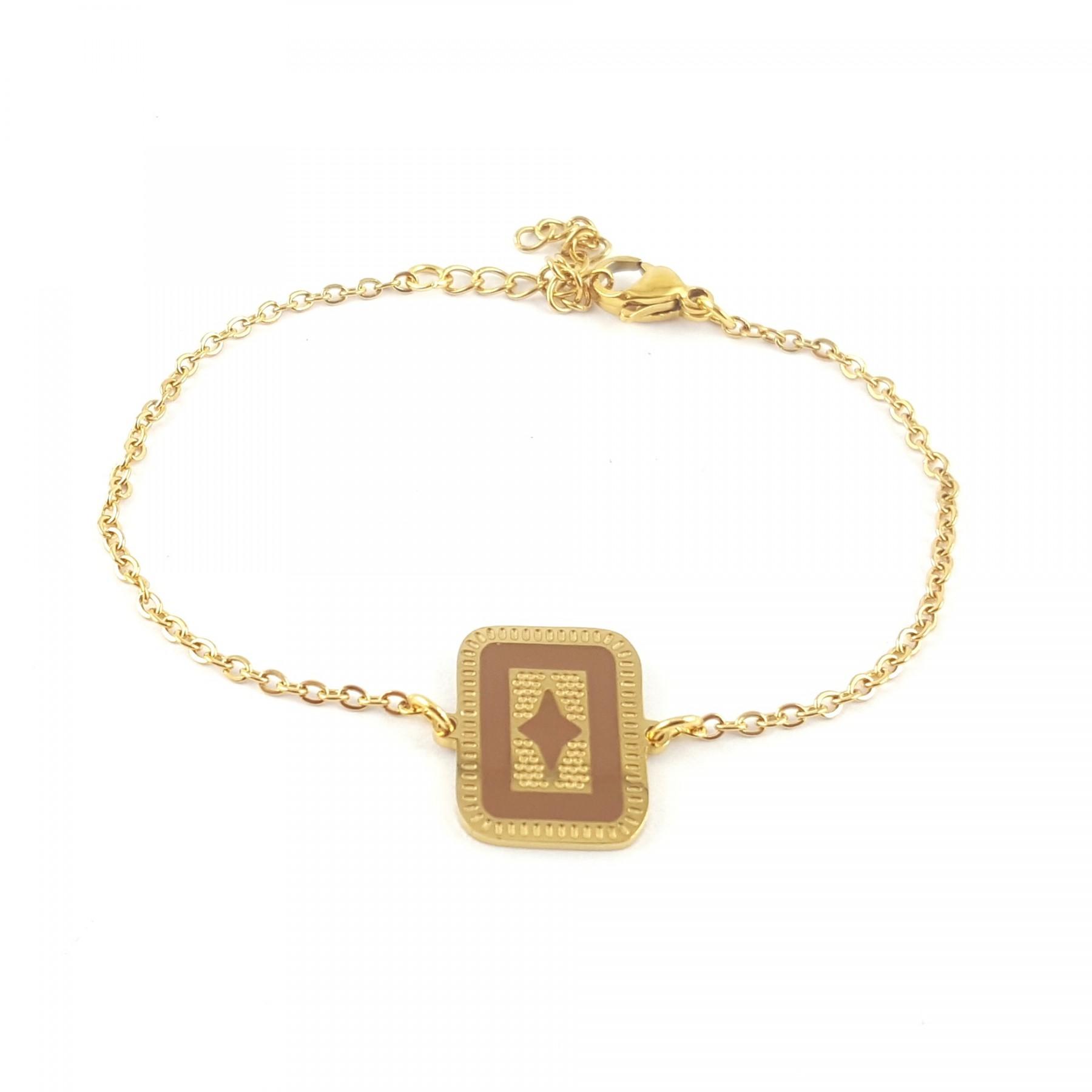 Bracelet rectangle émaillage marron