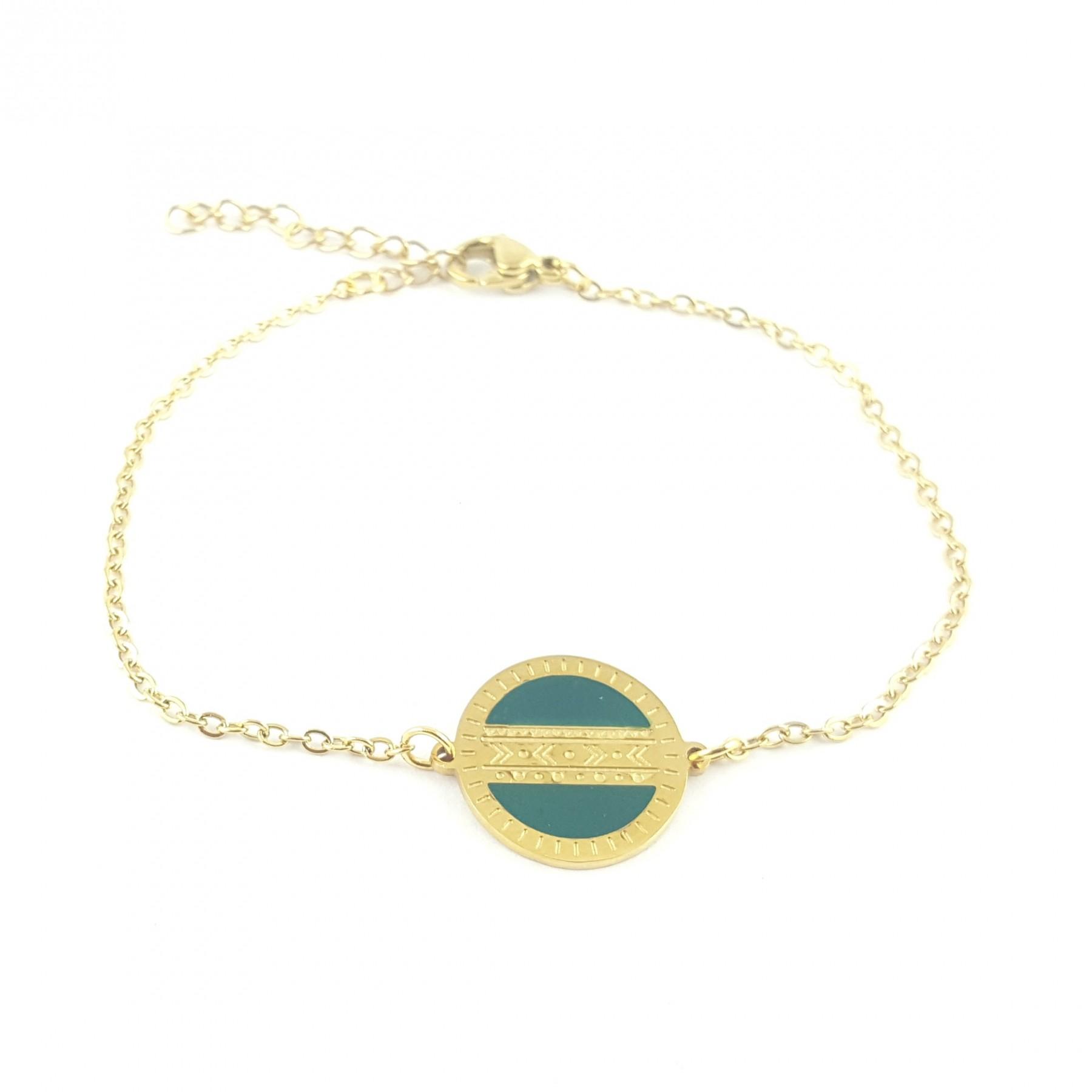 Bracelet disque émaillage bleu canard