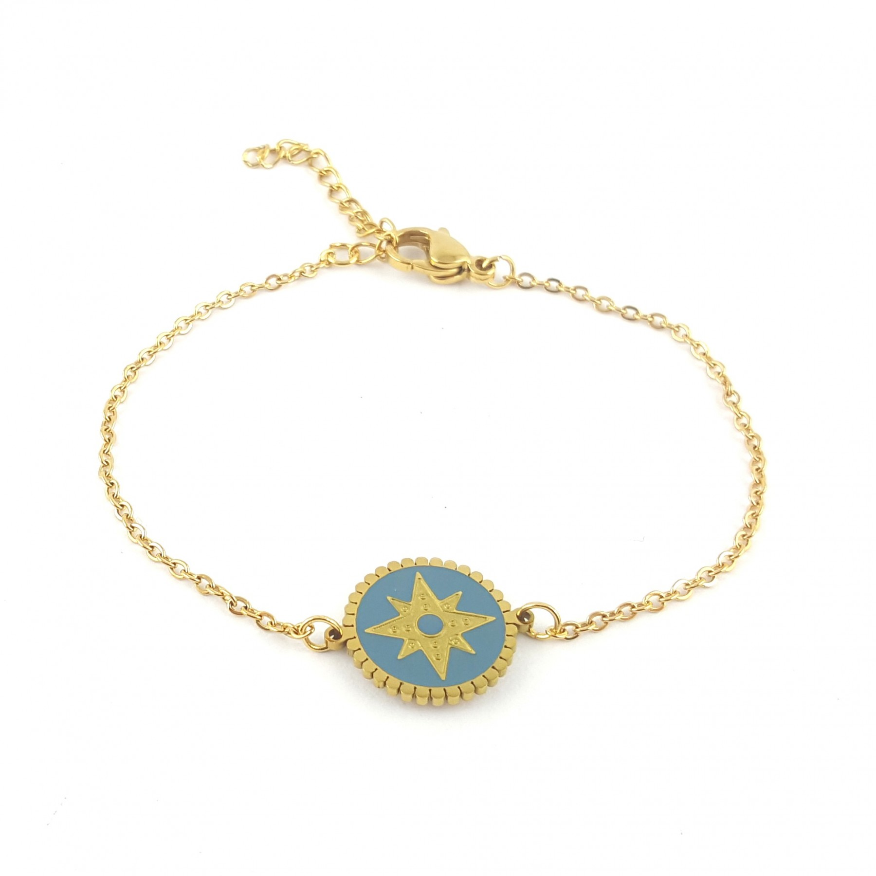 Bracelet disque émaillage bleu gris