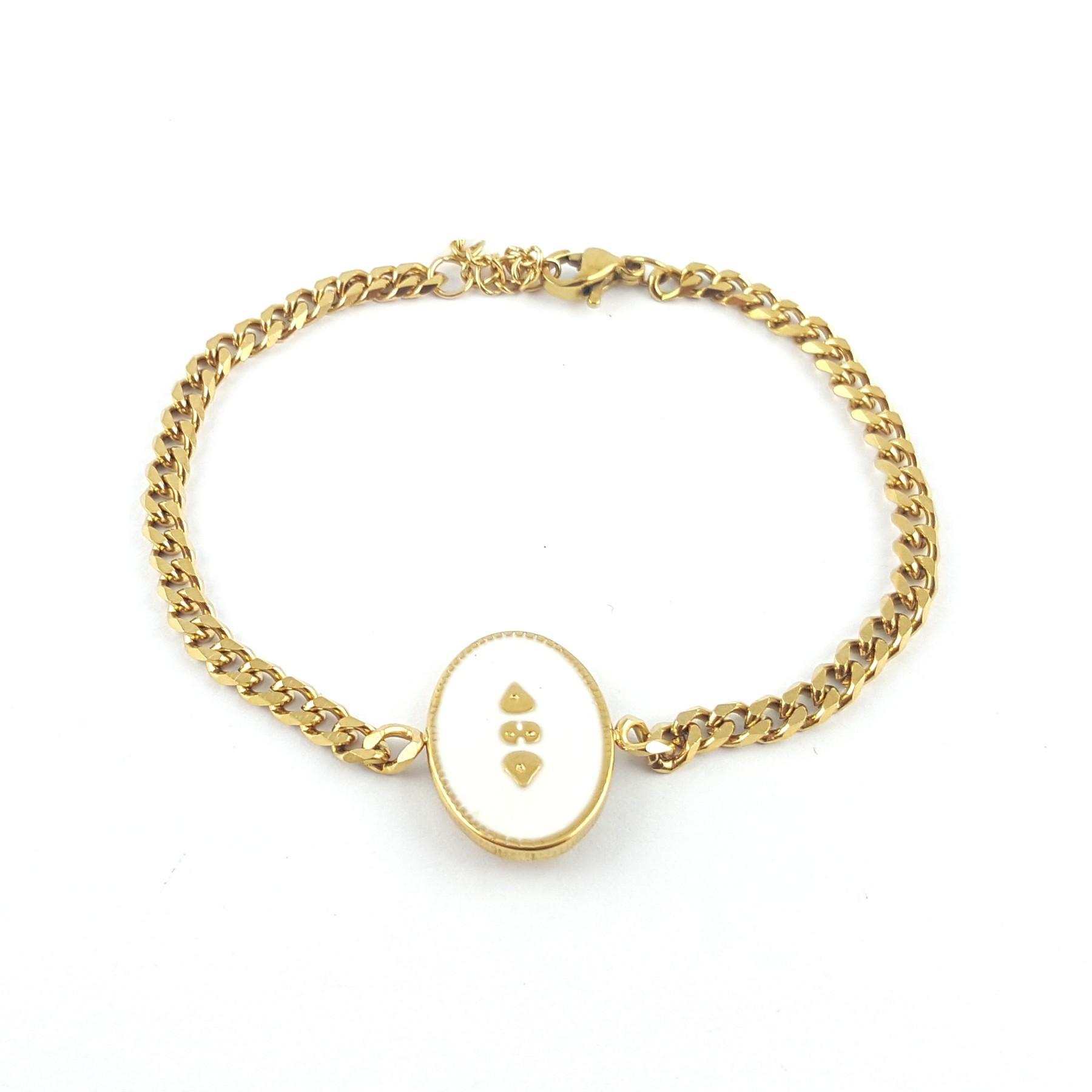 Bracelet ovale émaillage blanc