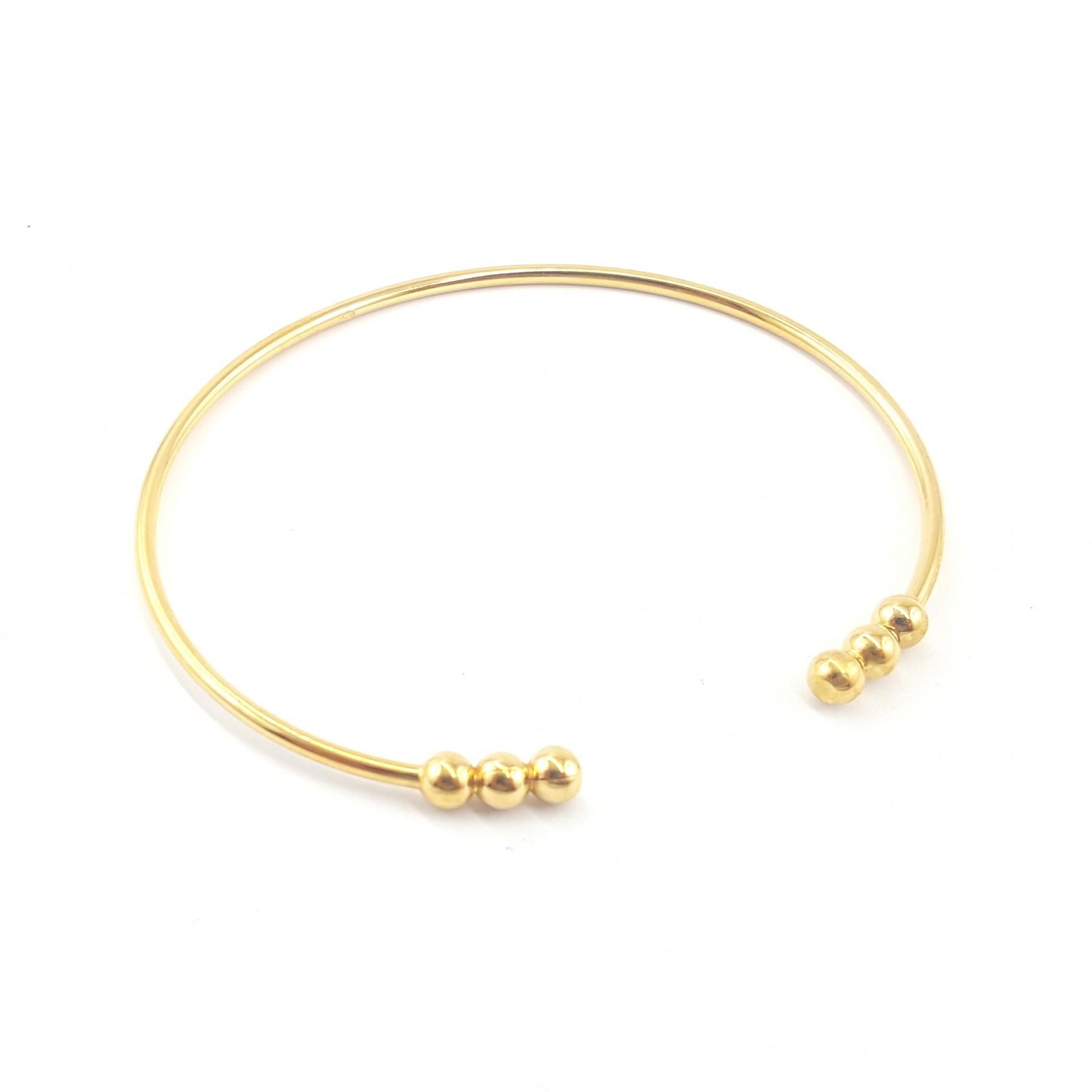 Bracelet plaqué or trois sphères