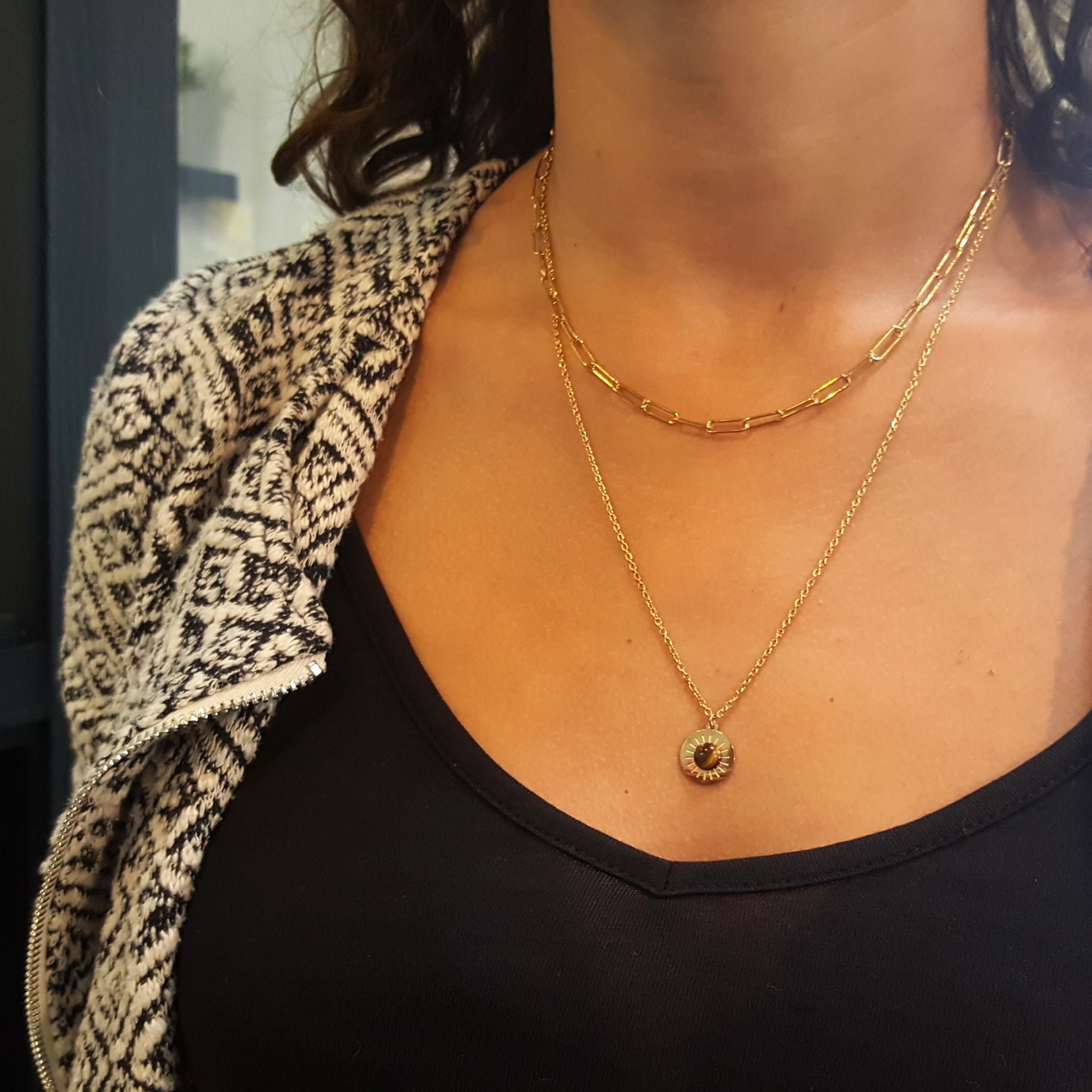 Collier double pendentif oeil de tigre