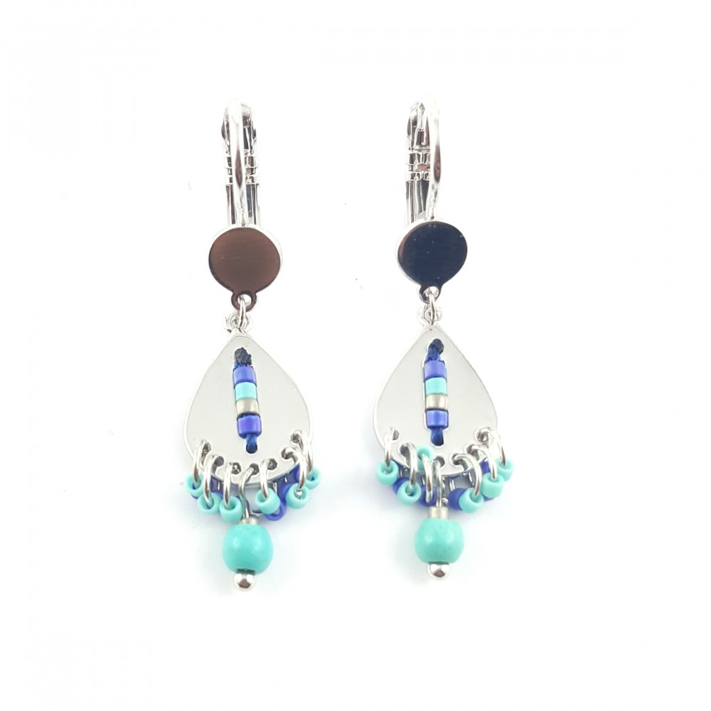 Boucles d'oreilles bohèmes articulées, métal et perles