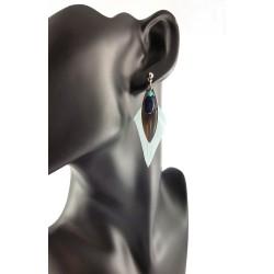 Boucles d'oreilles plume bleue claire