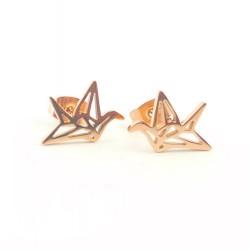 Puces origami oiseau - rosé