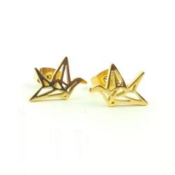 Puces origami oiseau - or jaune
