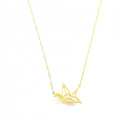 COL oiseau origami - doré