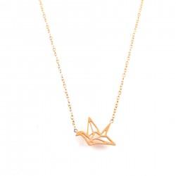 COL oiseau origami - rosé