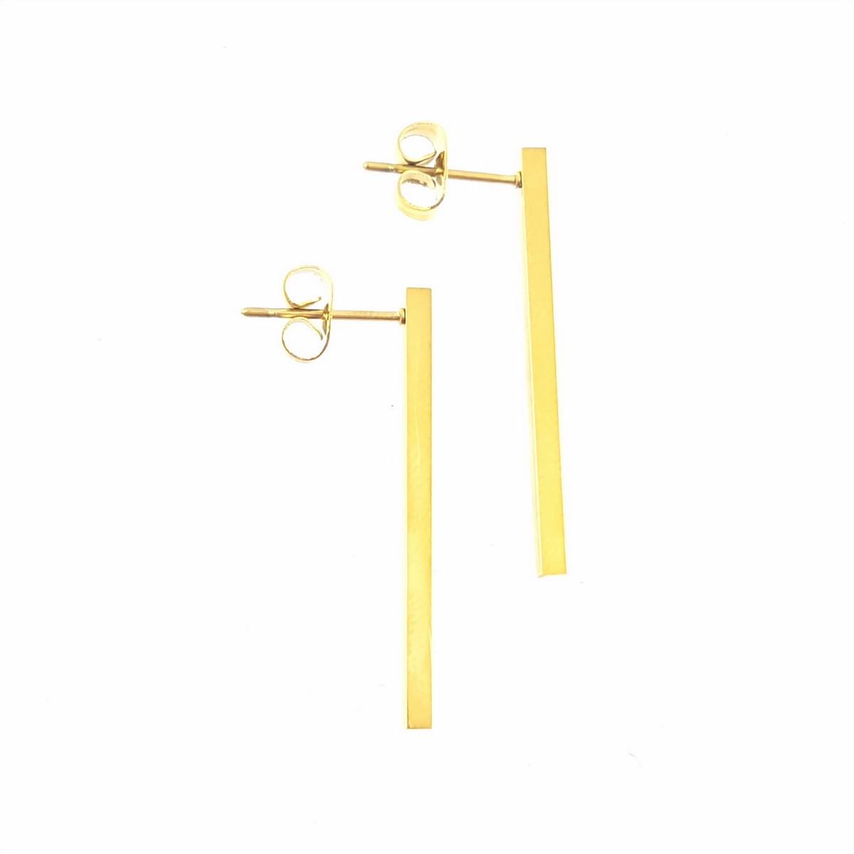 boucles d'oreilles barre 3cm doré jaune