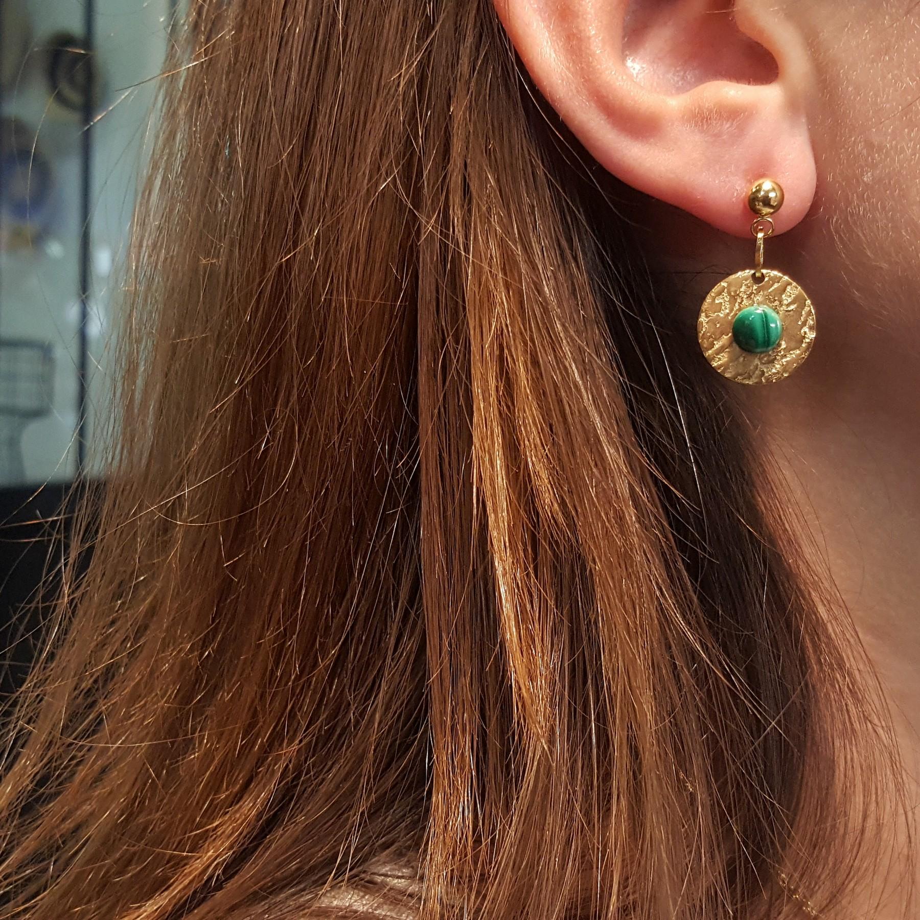 Boucles d'oreilles acier inox doré et malachite