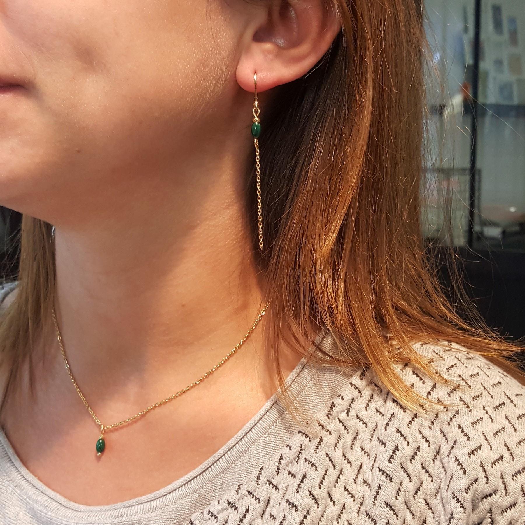 Bijoux en malachite et acier doré - fabrication française - identités bijoux - auvergne