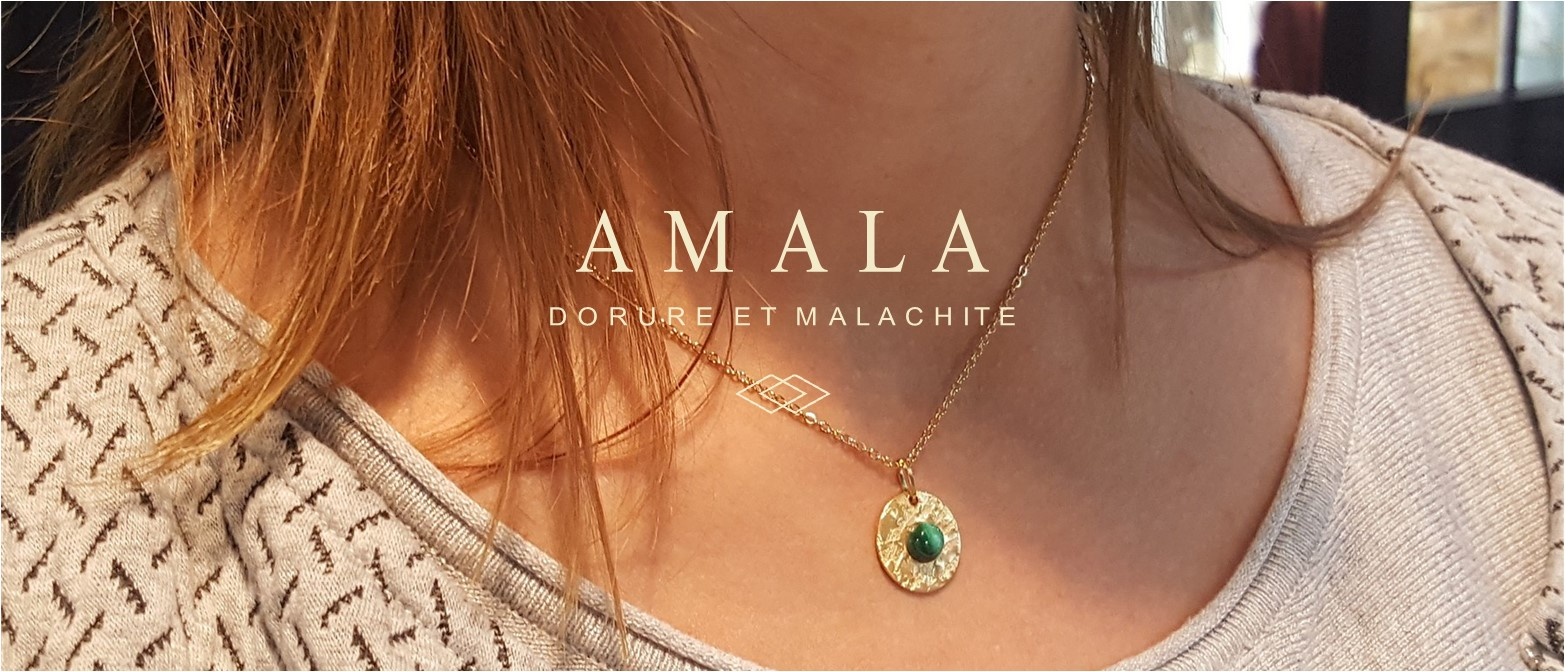 collection amala - bijoux malachite et dorure - identités bijoux made in auvergne