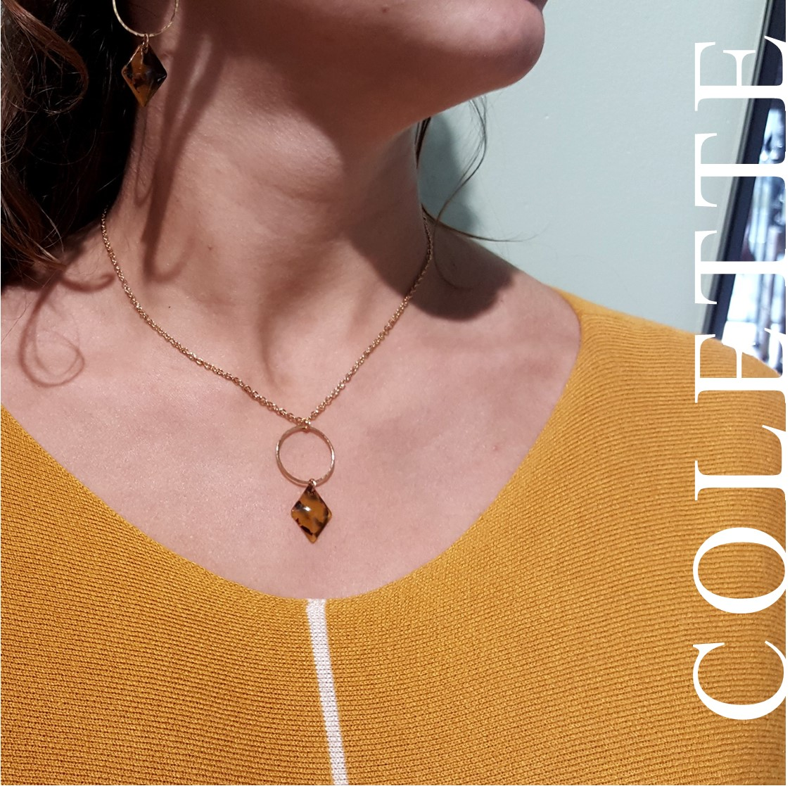 collier vintage losange et rond - acier inoxydable doré - bijoux clermont-ferrand