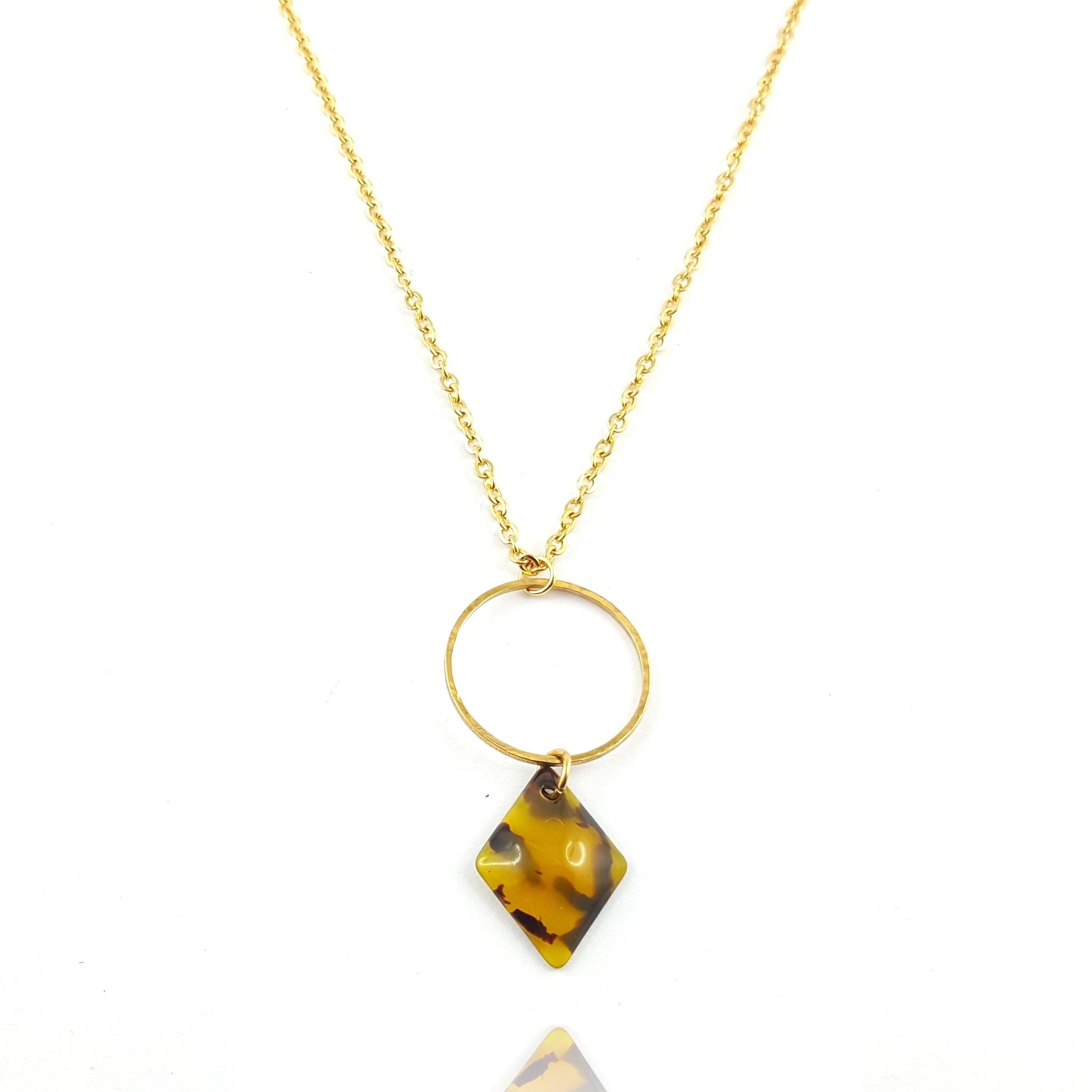 collier pendentif acier et résine - bijoux vintage - clermont-ferrand - identités bijoux
