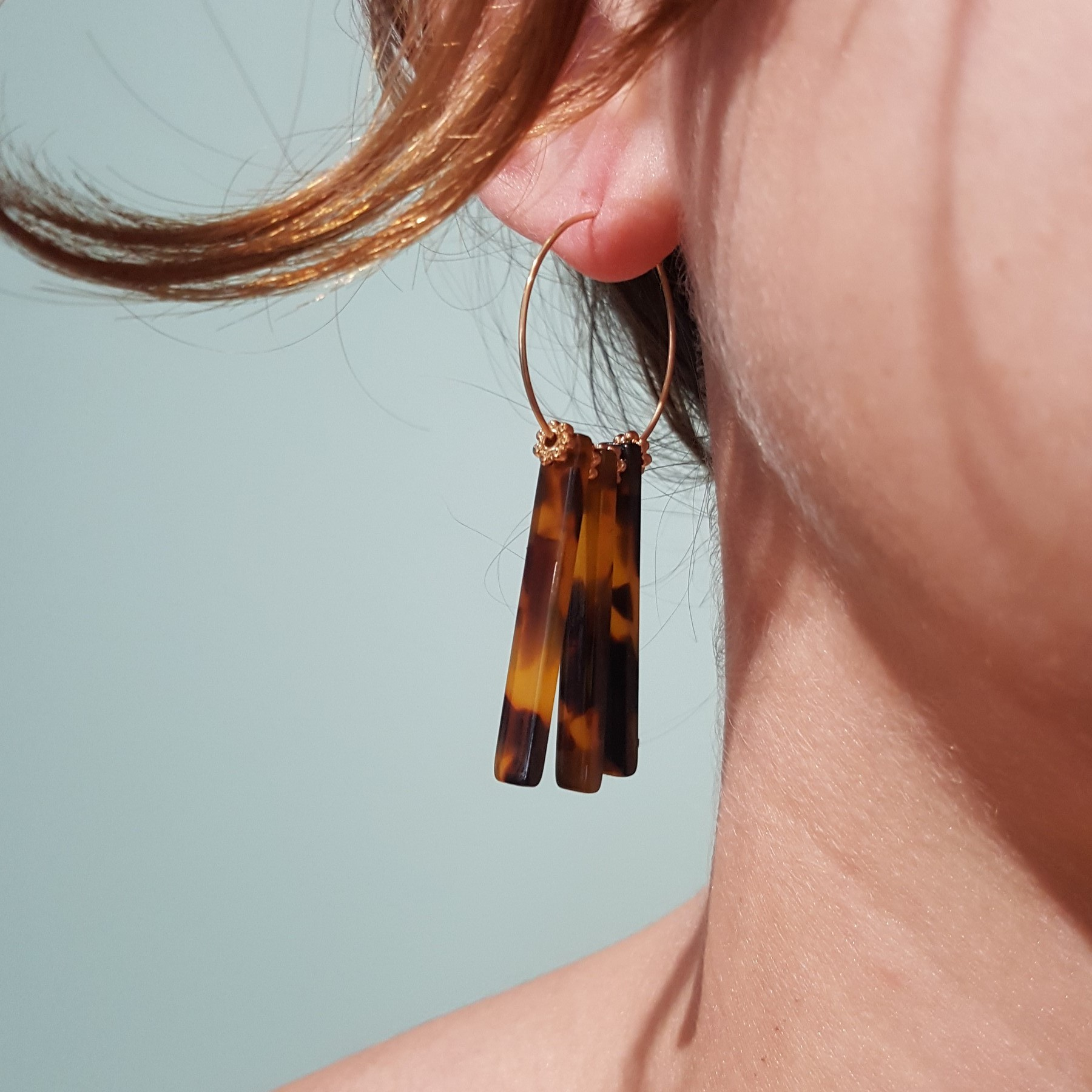 boucles d'oreilles vintage écaille - identités bijoux clermont-ferrand