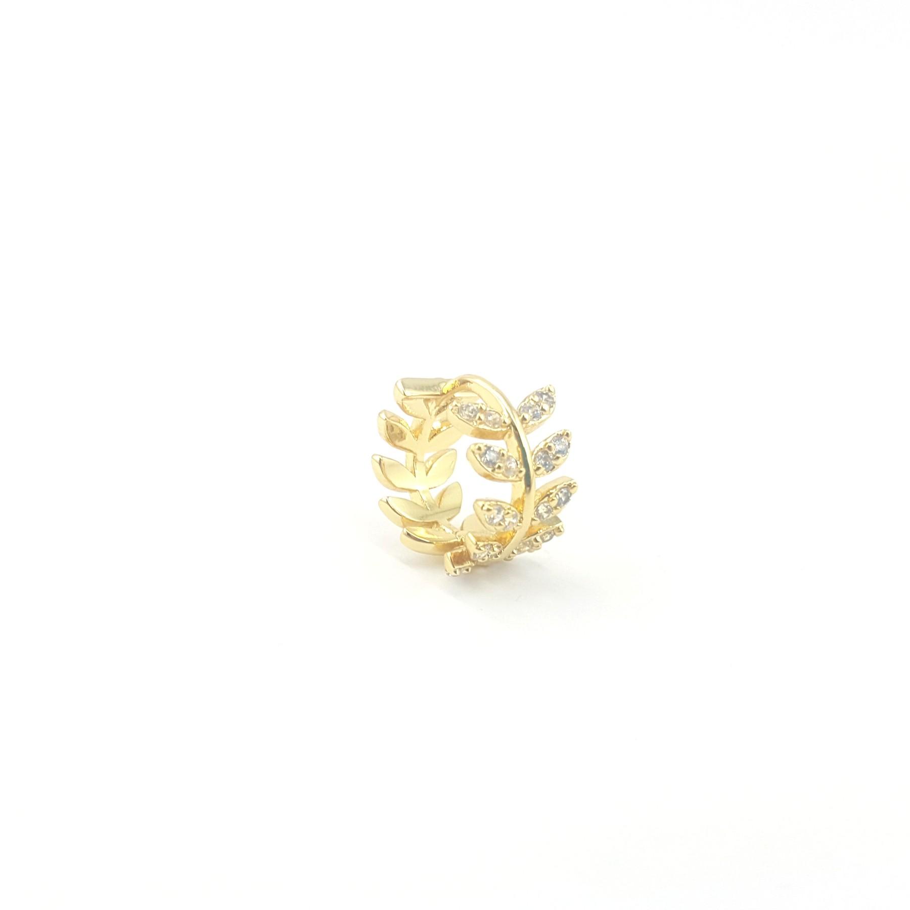 créole doré strass feuille laurier - identités bijoux