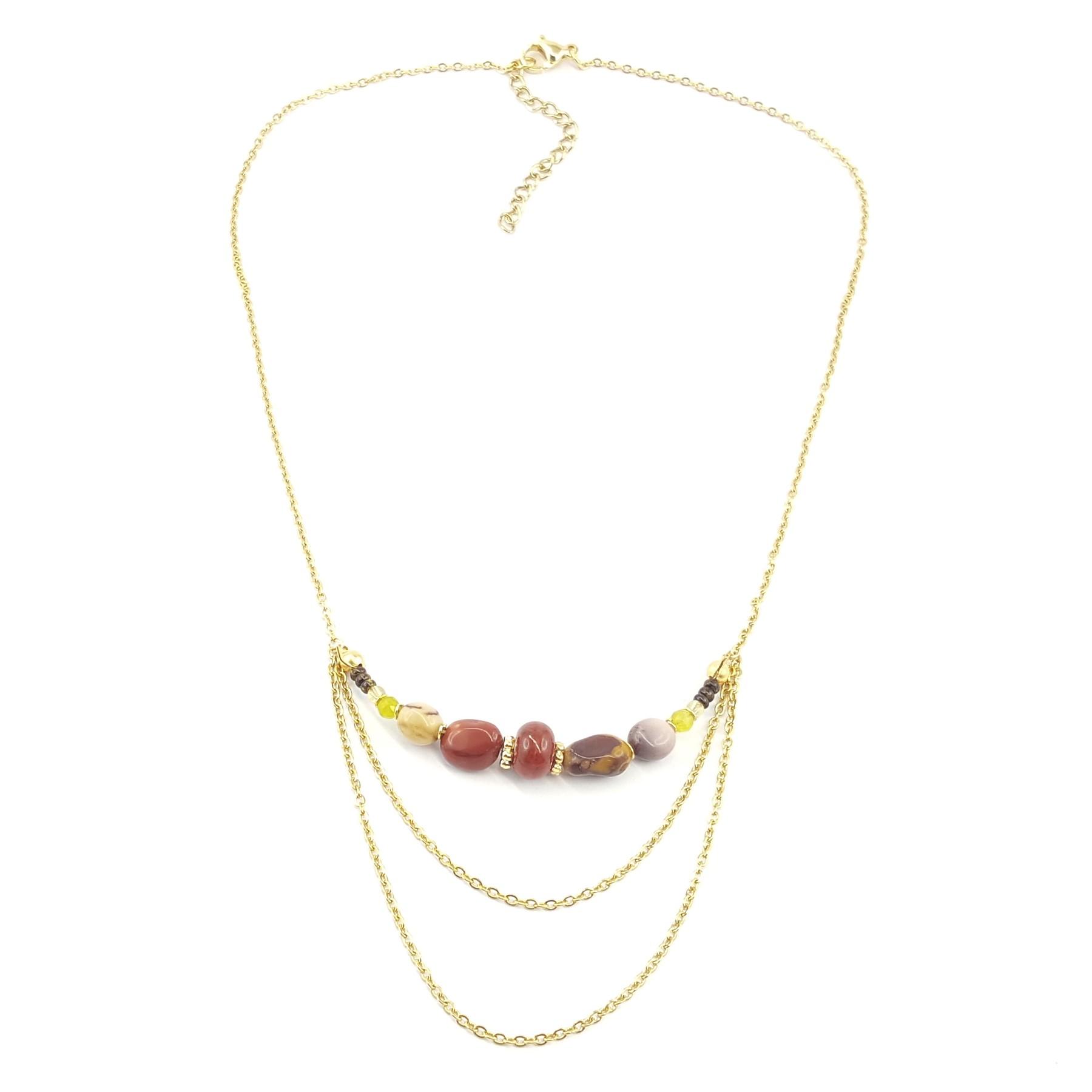 collier en acier inoxydable doré et mookaite - bijoux fantaisie en ligne - identités bijoux