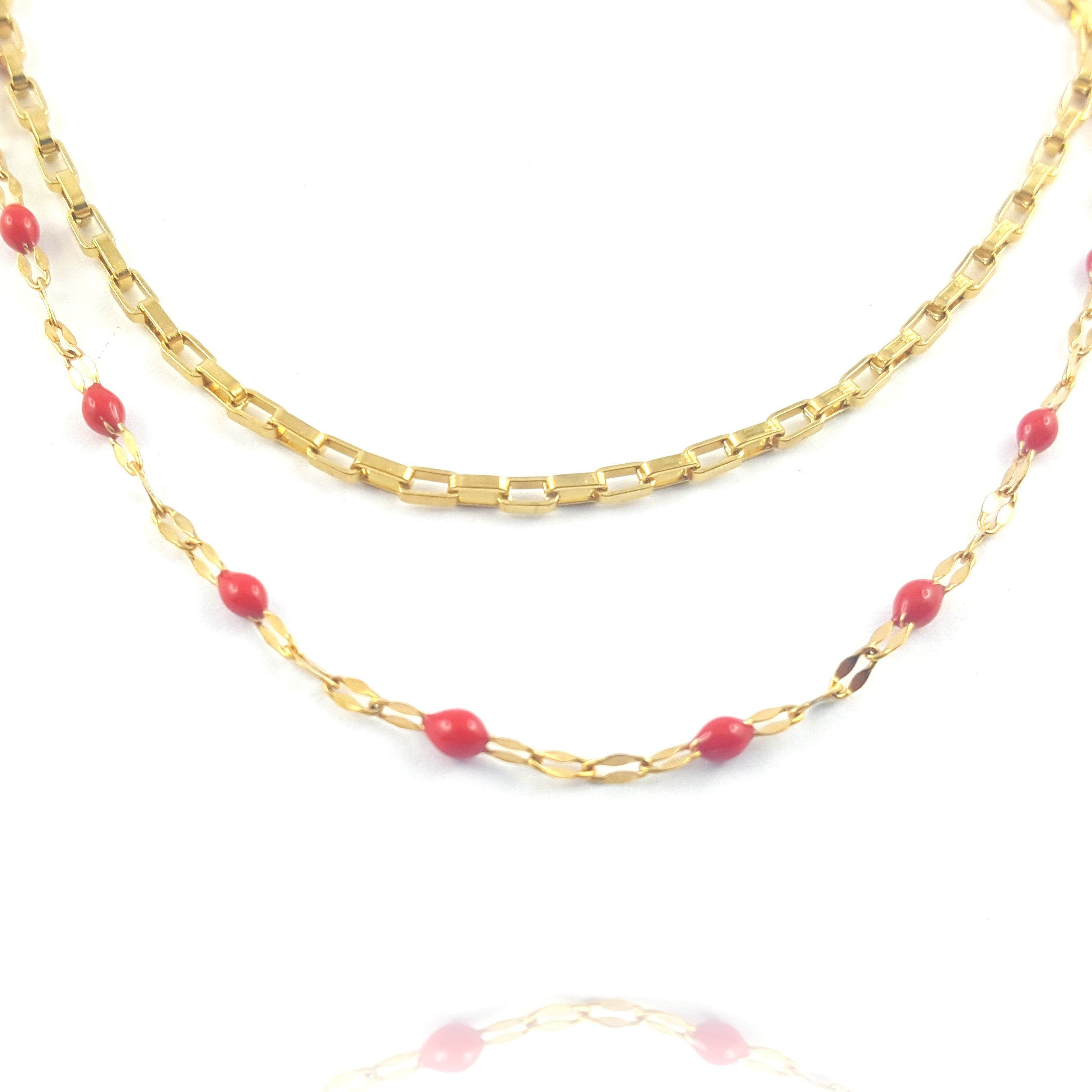 collier double chaîne dorée et rouge - identités bijoux