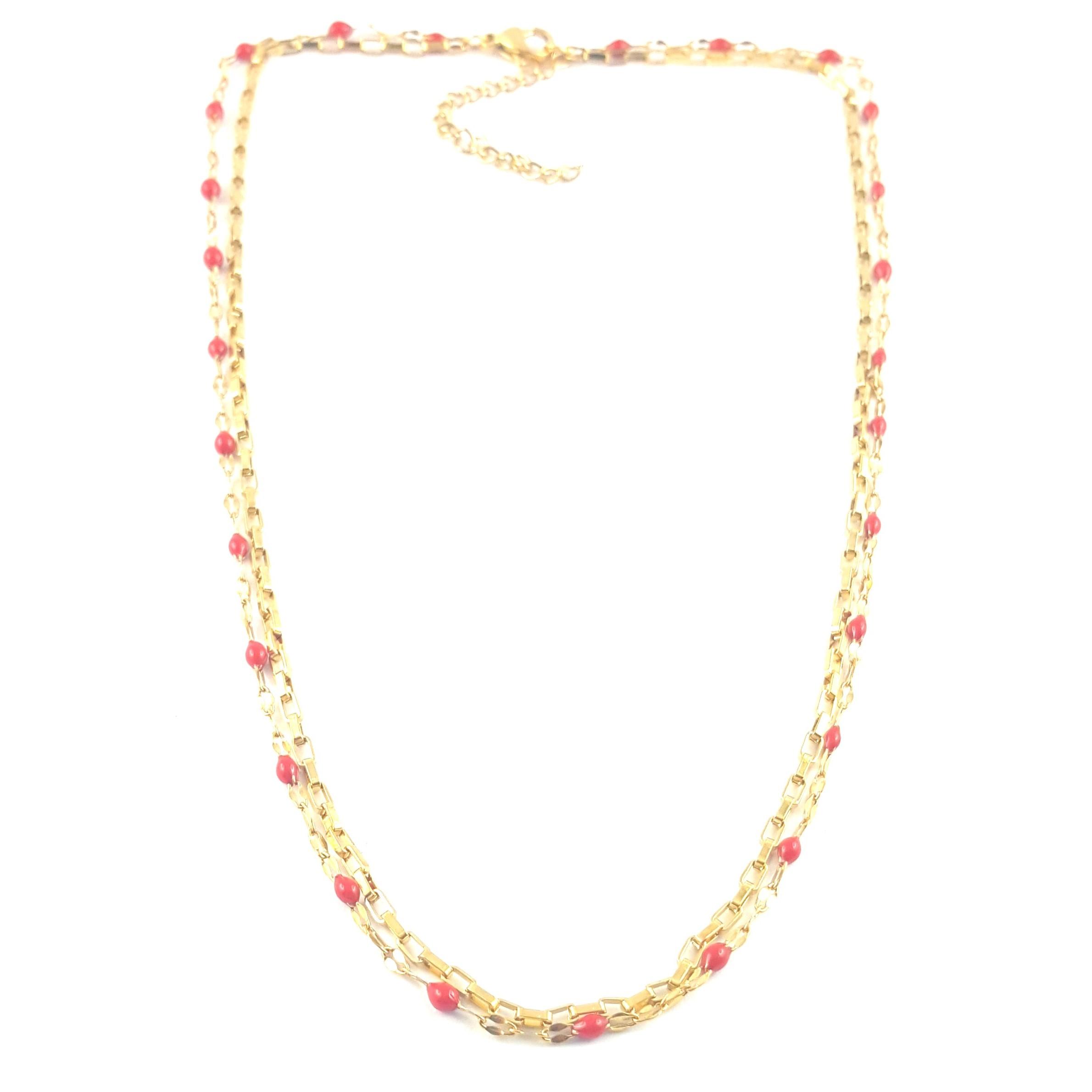 Collier double rang rouge - identités bijoux