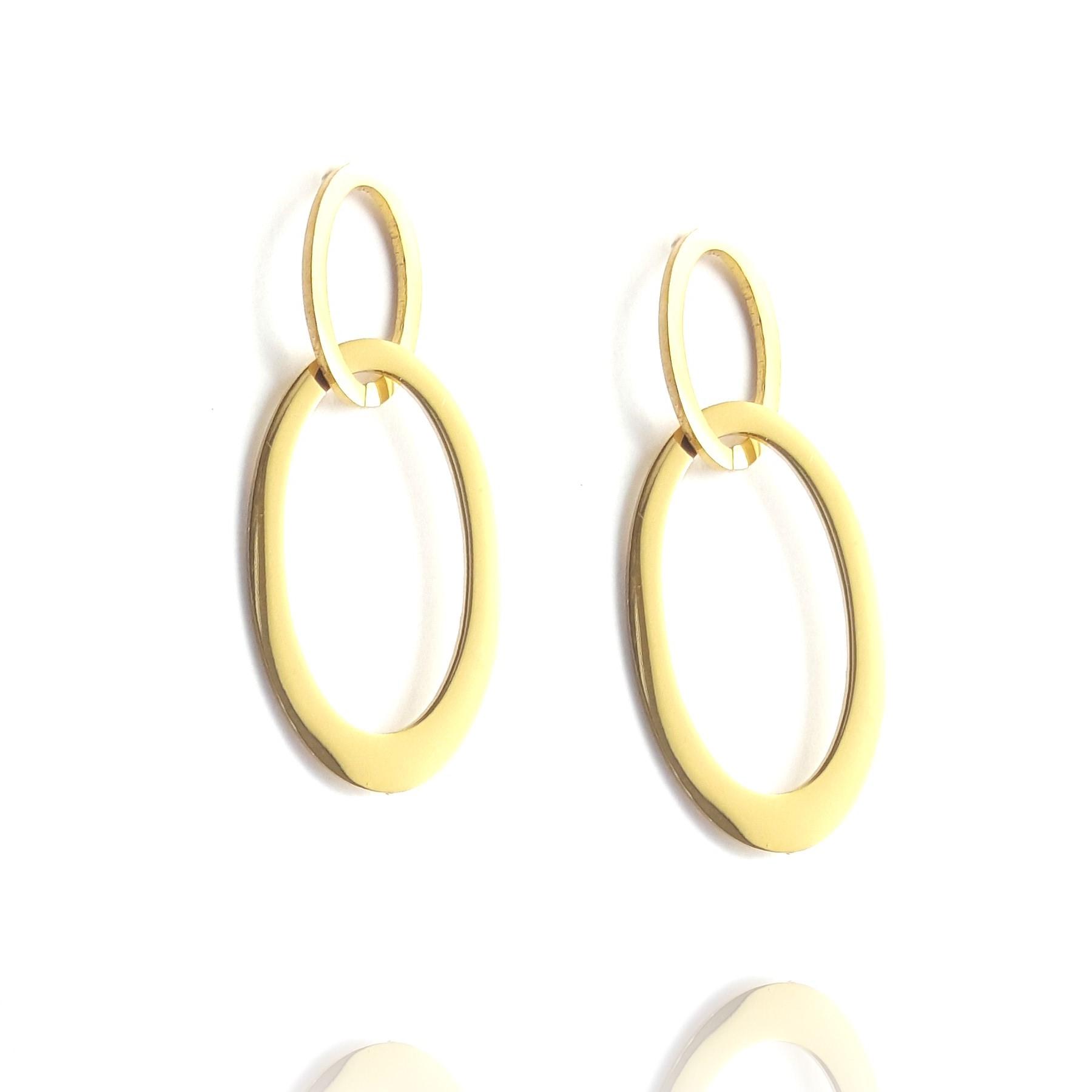 boucles d'oreilles double ovale - acier inox doré - identités bijoux