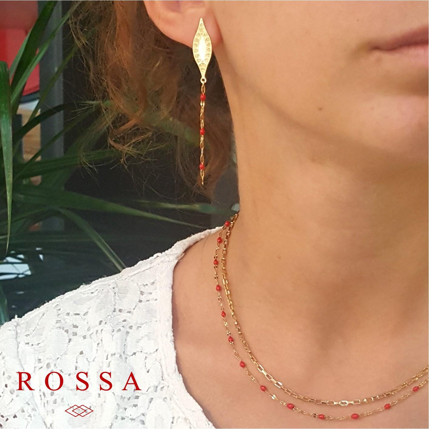bijoux rossa - acier inoxydable et émaillage rouge - fabrication française - bijoux auvergnat