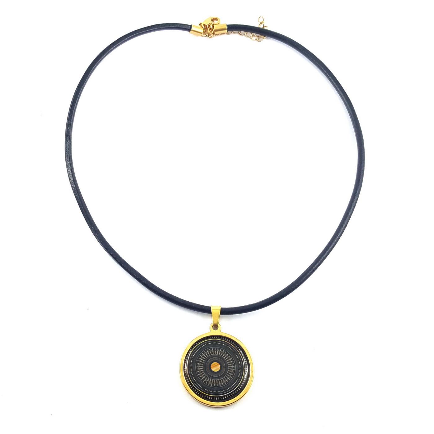 Collier doré et noire art deco - identites bijoux
