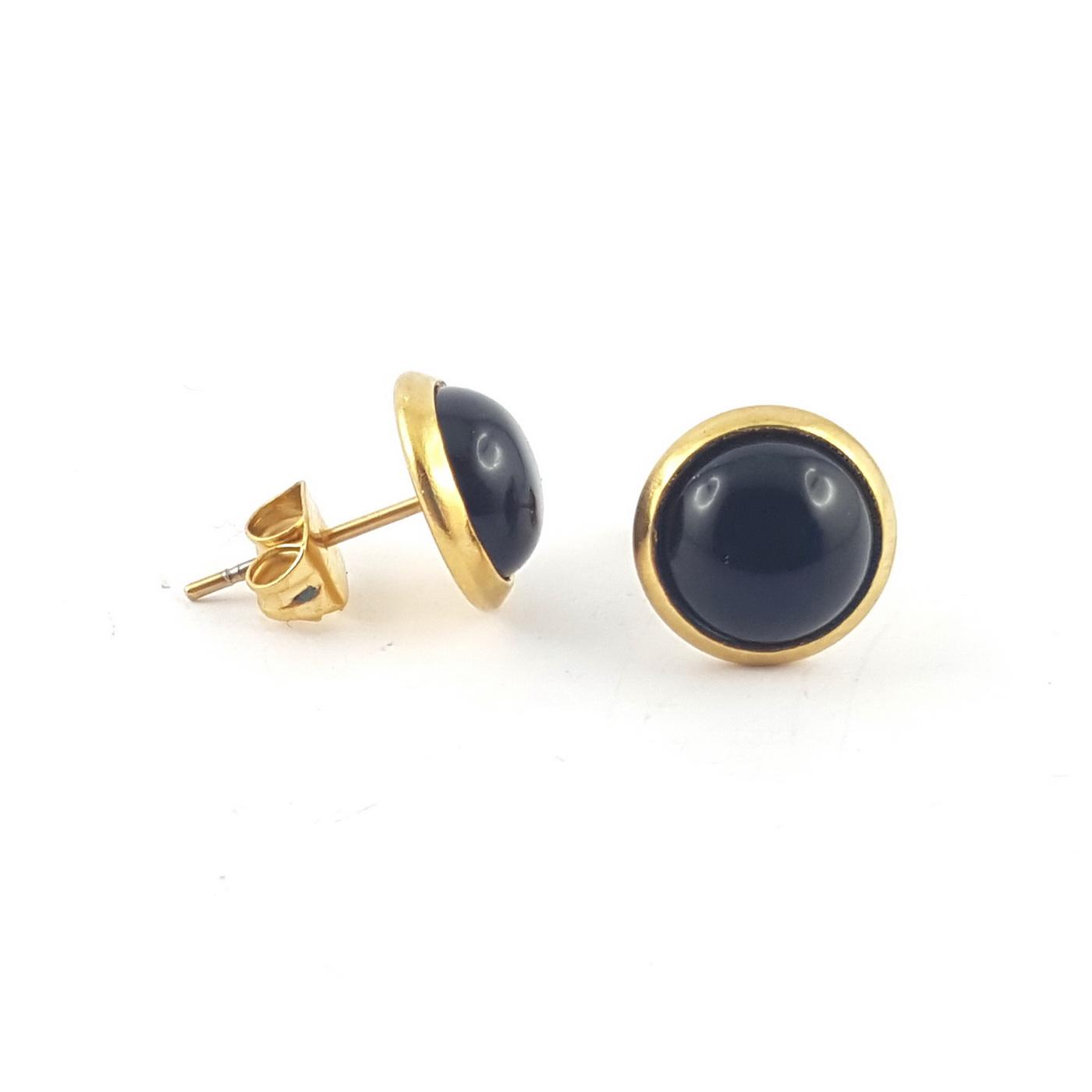 Puces d'oreilles finition or et agate noire - identites bijoux