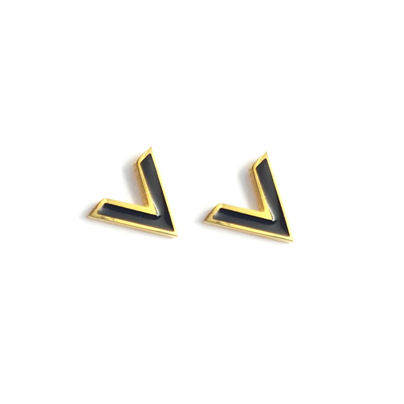 Boucles d'oreilles forme V résine et finition or - identites bijoux