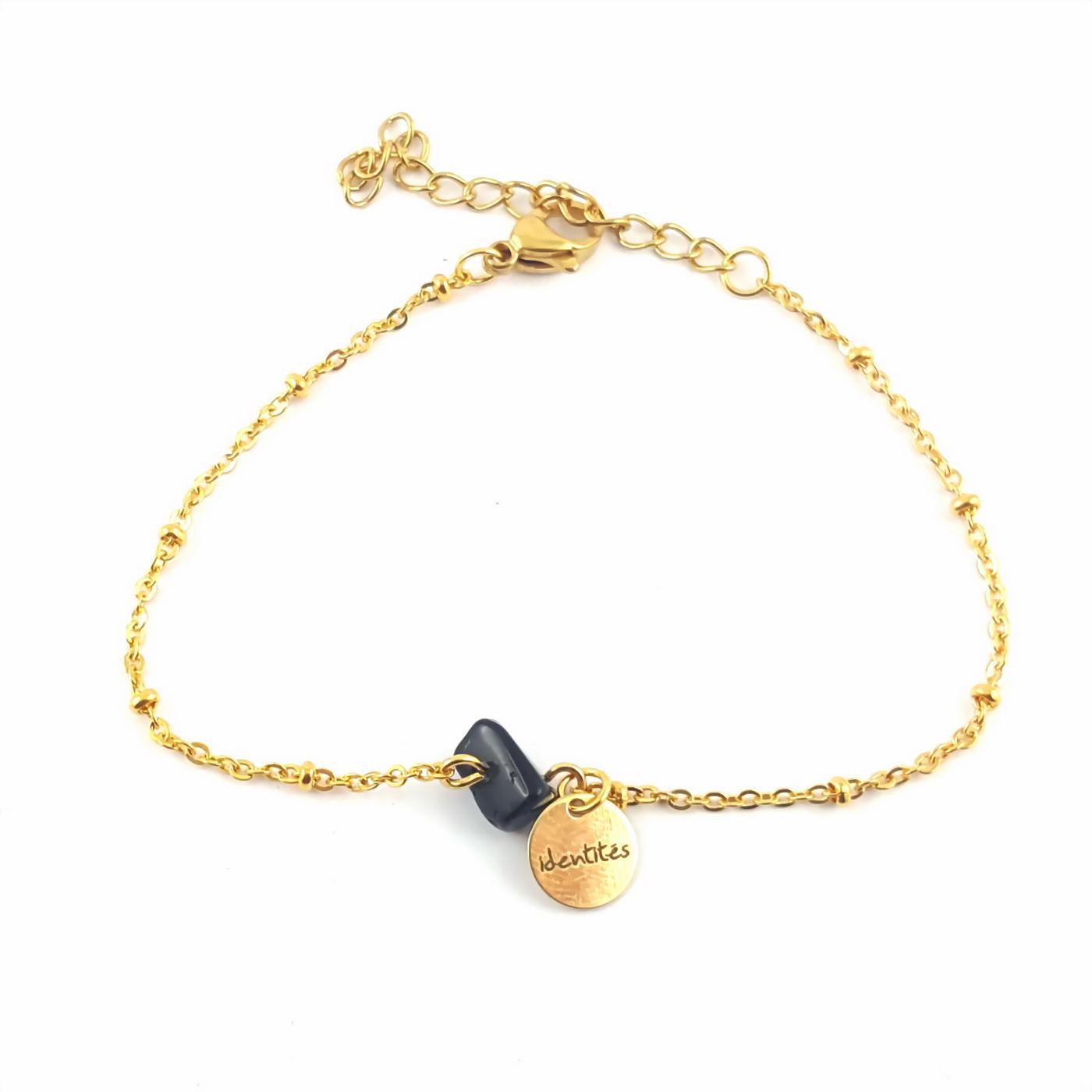 Bracelet pépite agate noire et chaîne finition or - identités bijoux